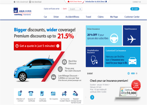 Axa Direct English Website For Foreigners In Korea